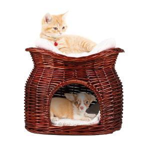 ペットハウス 猫 ベッド ドーム型 キャットハウス ペットベッド 小型犬用 猫ちぐら 寝床 多頭飼い ナチュラル素材 耐噛み クッション付き 洗える 冬/夏|hanamaru-ya