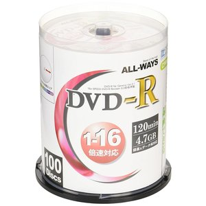 ALL-WAYS DVD-R 4.7GB 1-16倍速対応 CPRM対応100枚 デジタル放送録画対応・スピンドルケース入り・インクジェット hanamaru-ya