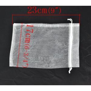 オーガンジーポーチ巾着袋23*17cm白無地50枚セット|hanamaru-ya