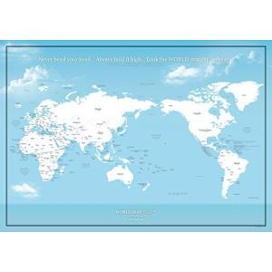 国名と首都が分かる 大きな世界地図ポスター / 空色 / ミニマルマップ (英語・かな, A1サイズ)|hanamaru-ya