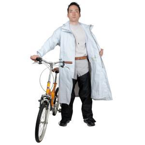 ボグゼ レインウェア 自転車 レッグカバー付 透湿 防水 2WAYサイクルコート CY-002 メンズ シルバー M|hanamaru-ya
