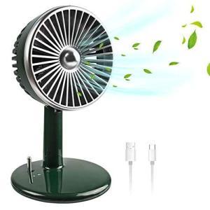 小型 卓上扇風機 静音 扇風機 レトロ設計 USB 充電式 超強風 超静音 風量3段階調整 節電 省エネ レバースイッチ 仕事用 長時間連続 hanamaru-ya