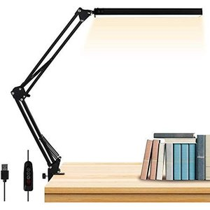 SKYYUNS 卓上ライト デスクライト10W LEDデスクスタンド 目に優しい アームライト クランプ付き 3段階調色 無段階調光 平面発|hanamaru-ya