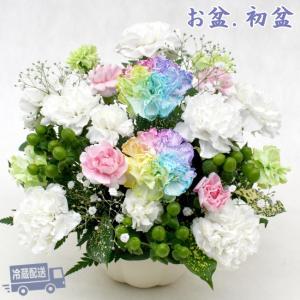 お供え花 お盆 初盆 レインボーカーネーション 生花 アレンジメント hanamoyou2