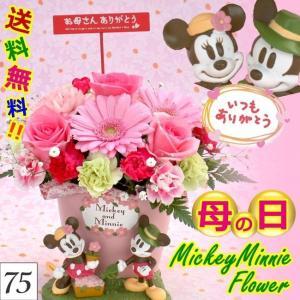 母の日に贈る!ミッキー&ミニーのなかよしガーデンサンクスアレンジ /生花アレンジメント