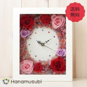 プリザーブドフラワー ギフト 「花時計 長方形 M」 全3色 バースデークリスタル|hanamusubi333