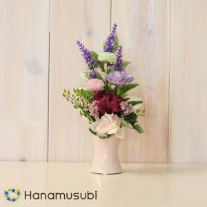 プリザーブドフラワー 「大輪濃桃菊のお供え用 オブリーク」 陶器花器&化粧箱付|hanamusubi333