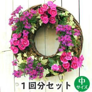 定番 中  リース セット 花苗で作る ハンギングリース 壁掛け 鉢 クリスマスリース ビオラリース