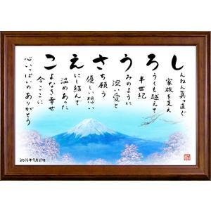 名前の詩の贈り物 プレゼント ミニブラウンの額/富士山と桜...