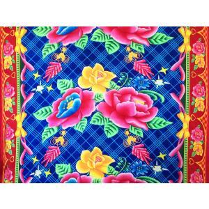 ベトナム・ベロア生地 / ブルー / W160cm×60cm|hananoco-bazaar