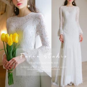 ウエディングドレス 購入 白 エンパイア シンプル ウェディングドレス 花嫁 ドレス 披露宴|hanashop