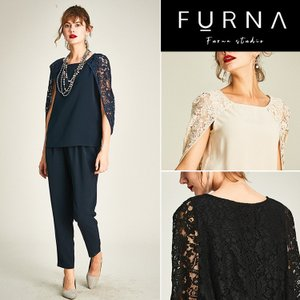 ・商品名 FURNA パーティードレス パンツドレス 結婚式 セットアップ 袖あり 花柄 レース 大...