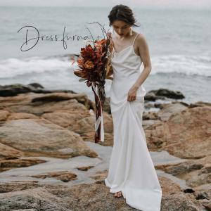 ウエディングドレス 購入 白  袖あり エンパイア シンプル ウェディングドレス 花嫁 ドレス 披露宴|hanashop