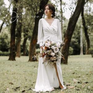 ウエディングドレス 購入 袖あり 白 二次会 安い ウェディングドレス エンパイア 花嫁 フォトウエディング ビーチフォト 前撮り 後撮り|hanashop