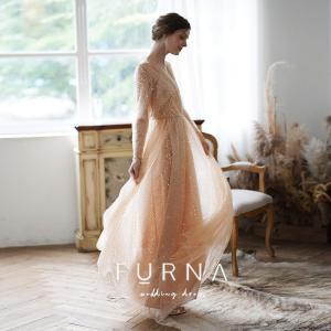 ・商品名 FURNA ウエディングドレス 購入 袖あり 二次会 安い 白 ウェディングドレス エンパ...