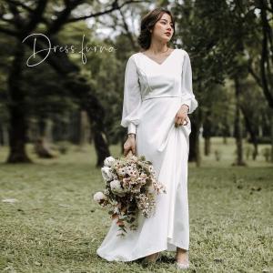 [商品名]  ウェディングドレス 白 ドレス 結婚式 二次会 ロングドレス 花嫁 ワンピース 10代...