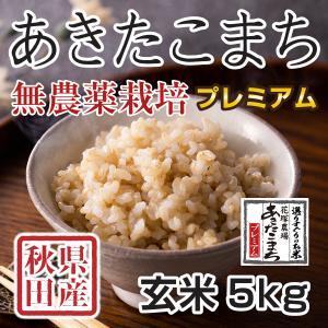 【新米予約】 玄米 令和3年産新米 秋田県産 あきたこまち 無農薬栽培プレミアム 5kg 農家直送|hanatsukafarm