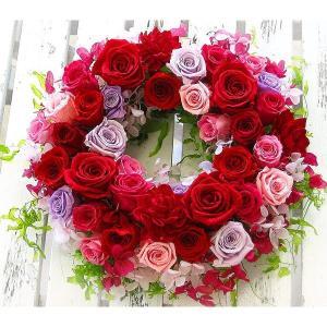 【送料無料】プリザーブドフラワーの リース「rouge(ルージュ)」(母の日 クリスマス リース 玄関)|hanaururu
