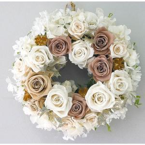 送料無料 プリザーブドフラワーの贅沢リース「White Love (ホワイト ラブ)」(母の日 クリスマス リース 玄関)|hanaururu
