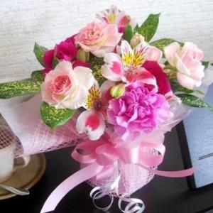 送料無料花束花瓶いらずのブーケスタイルフランス風Lサイズ3,980円ピンク_包装_メッセ