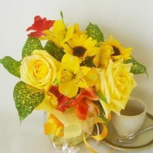 送料無料花束花瓶いらずのブーケスタイルフランス風Lサイズ3,980円イエロー_包装_メッセ