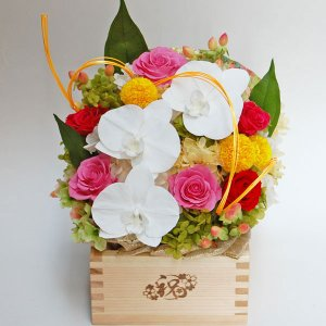 プリザーブドフラワー ギフト 開店 開業祝い 移転祝い 周年記念 お花 プレゼント 贈り物 和風 五合枡(ますます繁盛)  瑞祥花2 〜ずいしょうか〜 hanayagi