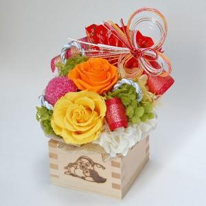 プリザーブドフラワー ギフト 開店 開業 移転 周年記念祝い お花 プレゼント 贈り物 ケース入り 一合枡(ますます繁盛)  睦季(黄色) 〜むつき〜 hanayagi