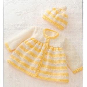 手編みキット 03A66編み図付 ハマナカ毛糸 かわいい赤ちゃん生成り(#2)3玉と黄色(#11)3玉で編む『レモンボーダーのベビードレス&帽子』 handcraft