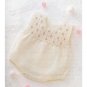 手編みキット 03A67編み図付 ハマナカ毛糸 かわいい赤ちゃん 生成(#2)3玉で編む スモッキングと小花刺繍のロンパース handcraft
