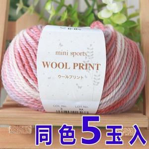 元廣 ミニスポーツウールプリント 同色5玉1袋単位 手編み 毛糸 ウール100% マフラー セーター ニット小物|handcraft