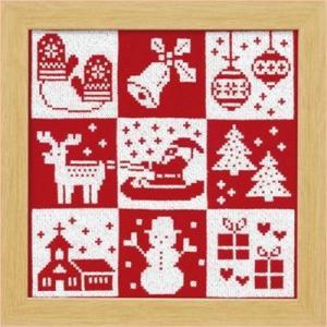 オリムパス X-102「クリスマス(レッド)」 額 クロス・ステッチキット クリスマス 手芸キット 飾り 手作りキット 壁掛け handcraft