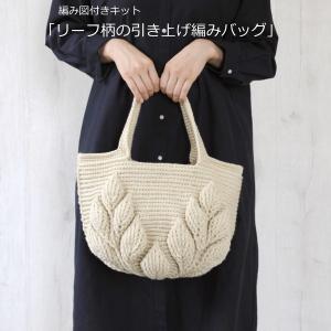 編み図付きキット ハマナカボニーで編む リーフ柄の引き上げ編みバッグ H167-193-304 肩が...