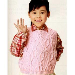 手編みキット ハマナカ 変わりケーブルのキッズベスト・編み図付き(ハマナカわんぱくデニス)4玉