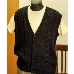 編み物 キット 前開きベスト 編み図/ボタン付 メンズ 手編み キット ハマナカ