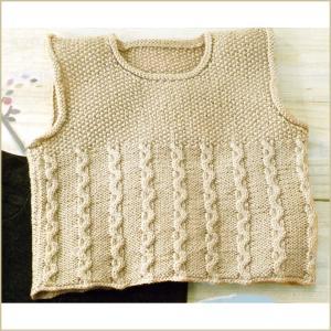 手編みキット 編み図付き かのこヨークベスト H141-100  ハマナカ毛糸 わんぱくデニス