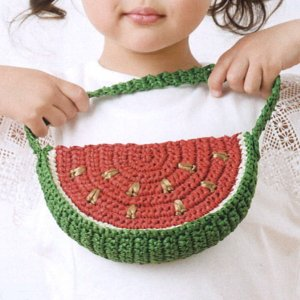 編み図付きキット スイカのミニバッグ N-1569 エコアンダリヤ キット 子供用 ハマナカ エコア...