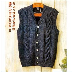 編み物 キット メンズケーブルベスト 編み図/ボタン付き 手編み キット ハマナカ