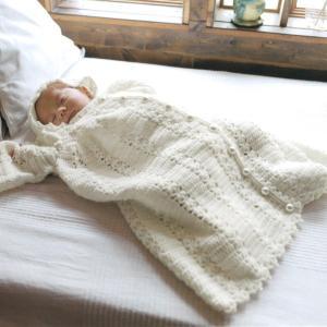 編み図付キット(N-1479) 前開きベビードレス3点セット 手作り キット ベビー ねんね ハマナカ hama 手芸の山久 handcraft