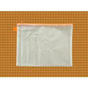 ファスナーケース 書類入れ / メッシュケース A4ゆったりサイズ 約34.5cm×26cm オレンジ A4サイズ 1666169 送料別 通常配送 / ポーチ ケース 連絡袋 連絡帳入れ|handsman