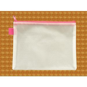 メッシュケース B6ゆったりサイズ (約)21cm×16cm ピンク B6サイズ 【pink】 (1666304) 【送料別】【通常配送】|handsman
