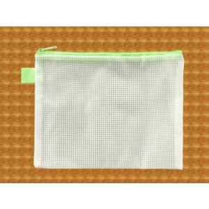 メッシュケース B6ゆったりサイズ (約)21cm×16cm グリーン  B6サイズ (1666339) 【送料別】【通常配送】|handsman