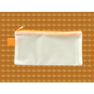 メッシュケース ペンケースサイズ (約)20cm×10cm オレンジ  筆箱 (1666363) 【送料別】【通常配送】|handsman