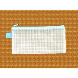 メッシュケース ペンケースサイズ (約)20cm×10cm ブルー  筆箱 (1666398) 【送料別】【通常配送】|handsman