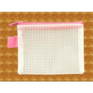 メッシュケース 名刺サイズ (約)12cm×9cm ピンク 名刺入れ 【pink】 (1666401) 【送料別】【通常配送】|handsman