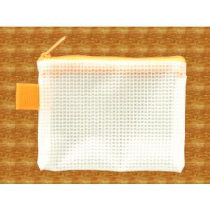 メッシュケース 名刺サイズ (約)12cm×9cm オレンジ  名刺入れ (1666410) 【送料別】【通常配送】|handsman