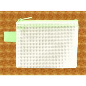 メッシュケース 名刺サイズ (約)12cm×9cm グリーン  名刺入れ (1666436) 【送料別】【通常配送】|handsman
