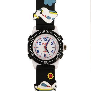 【廃番・取扱中止品】子供用腕時計 キッズウォッチ 飛行機 ブラック サンフレーム TCL23-BK  (1824082)取寄せ商品 送料別 通常配送|handsman