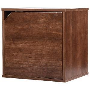 カラーボックス 扉タイプ 収納ボックス ウッドボックス / ブラウン 木箱 木製 ボックス 収納箱 3894886 取寄せ商品 送料別 通常配送|handsman