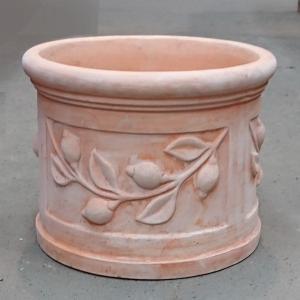 植木鉢 テラコッタ鉢 素焼き鉢 レモン柄 40 (約)直径40cm 高さ32cm 重さ18kg (4072723) 送料別 通常配送|handsman