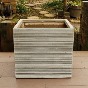 植木鉢 ファイバークレイ ストライプ 角型 50×46 ベージュ|handsman
